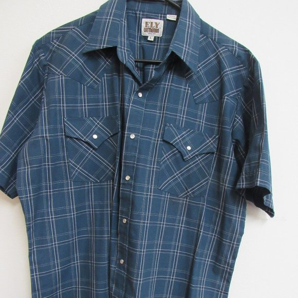 Ely Cattleman Short Sleeve Pearl Snap Large